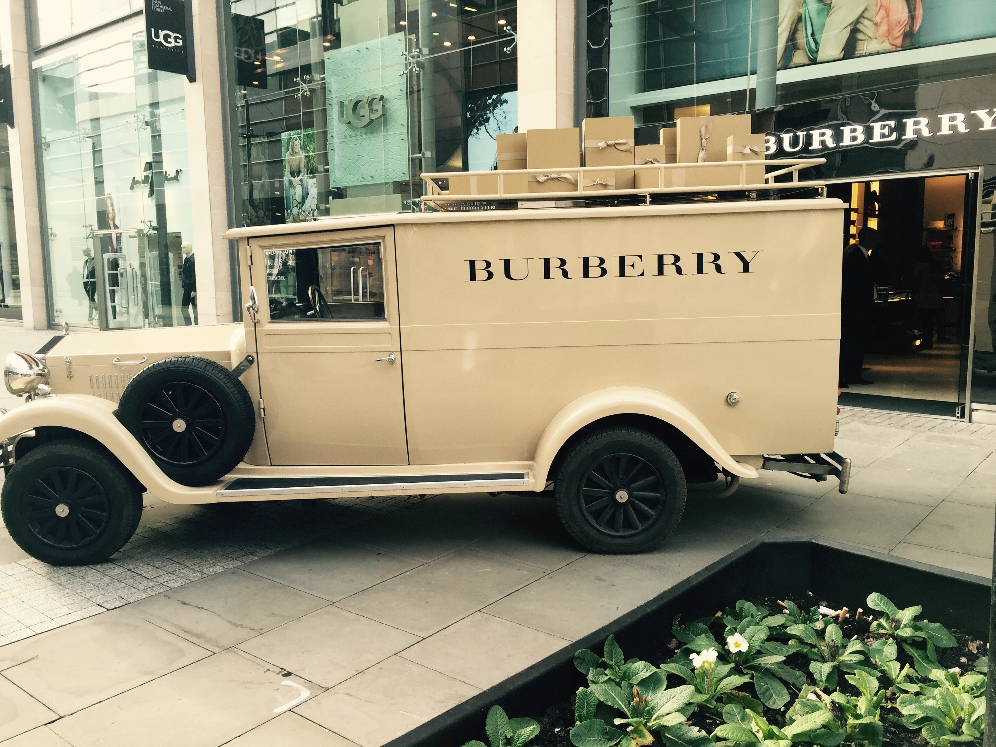 Brown vintage promotional van branded by Burberry